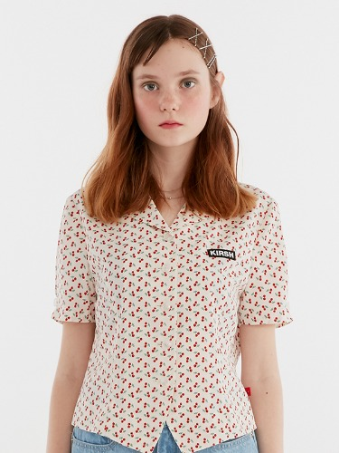 CHERRY OPEN COLLAR SHIRTS IH [WHITE]