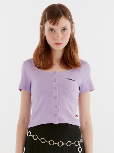 U-NECK BUTTON TEE IH [PURPLE]