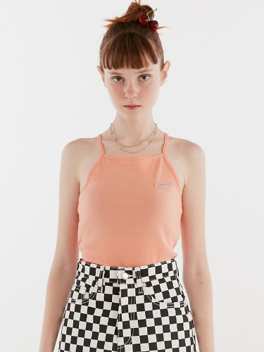 GLITTER LOGO HALTER NECK IH [ORANGE]