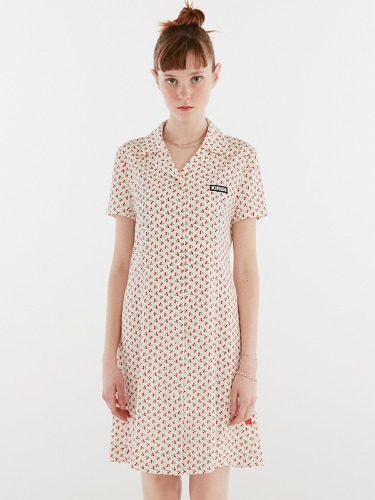 CHERRY OPEN COLLAR DRESS IH [WHITE]