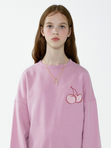 CHERRY TONE ON TONE SWEATSHIRT IA [LIGHT PINK]