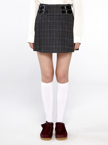 CHECK HALF TENNIS SKIRT IA [GRAY]