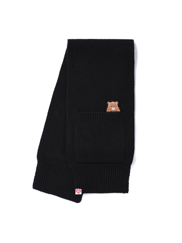 CARE BEAR BABY-POCKET KNIT MUFFLER [BLACK]