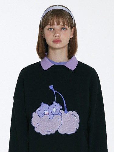 CARE BEAR CHERRY-CLOUD SWEAT SHIRT [BLACK]