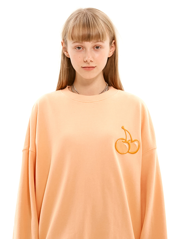 TONE ON TONE MIDDLE CHERRY SWEATSHIRT JS [LIGHT ORANGE]