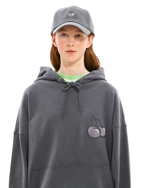MIDDLE CHERRY PIGMENT WASHING HOODIE JS [CHARCOAL GRAY]