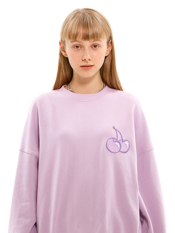 TONE ON TONE MIDDLE CHERRY SWEATSHIRT JS [LIGHT VIOLET]