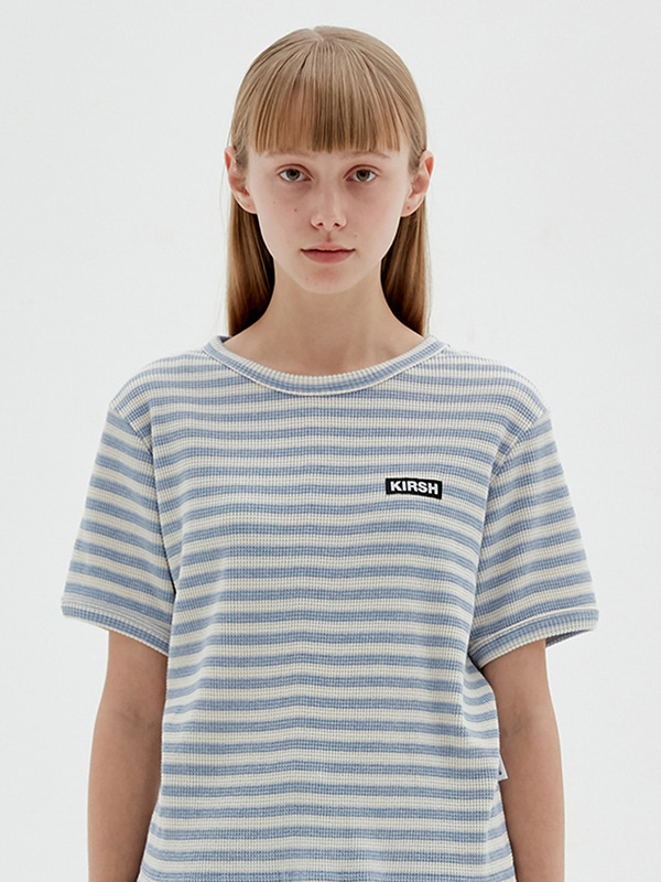 KIRSH WAFFLE STRIPE T-SHIRTS JS [LIGHT BLUE]