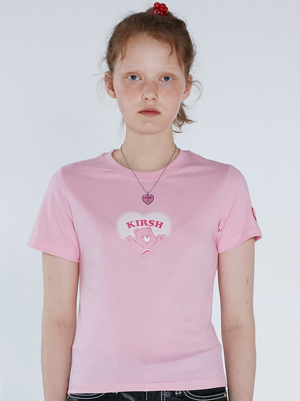CARE BEAR HEART CROP T-SHIRTS [LIGHT PINK]