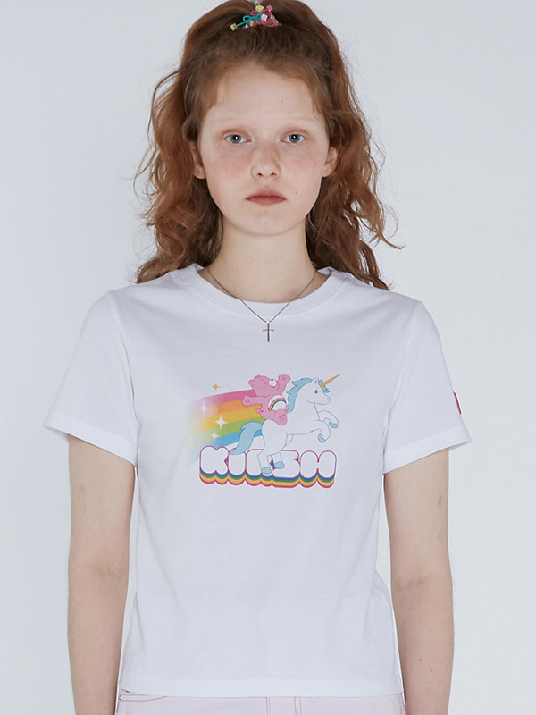 CARE BEAR RAINBOW UNICORN CROP T-SHIRTS [WHITE]