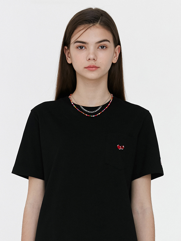 (6월9일 예약발송)POCKET CHERRY T-SHIRT JH [BLACK]