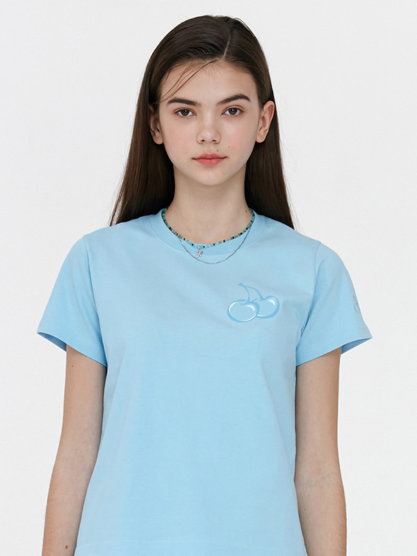 TONE ON TONE MIDDLE CHERRY T-SHIRT JH [LIGHT BLUE]