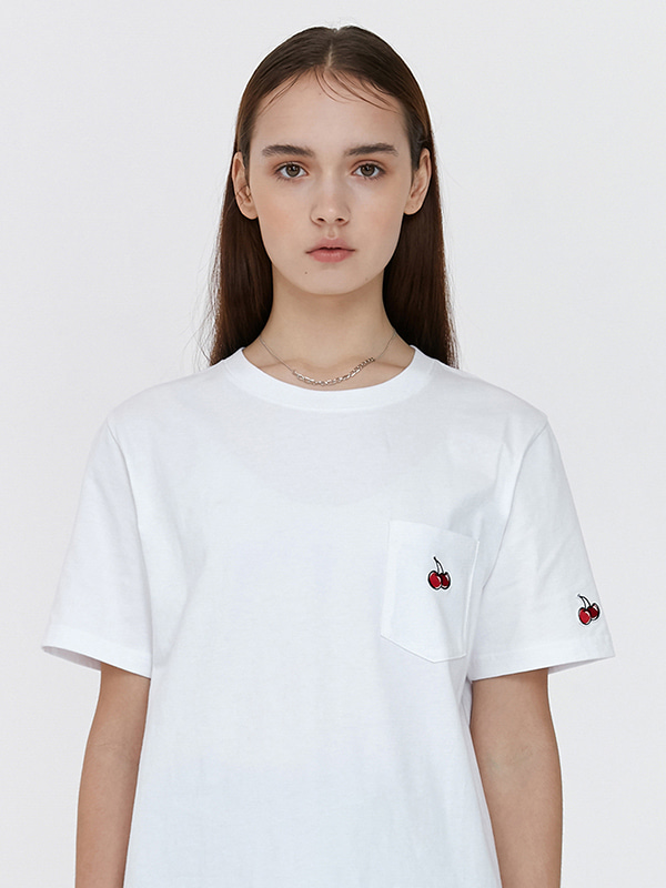 (6월9일 예약발송)POCKET CHERRY T-SHIRT JH [WHITE]