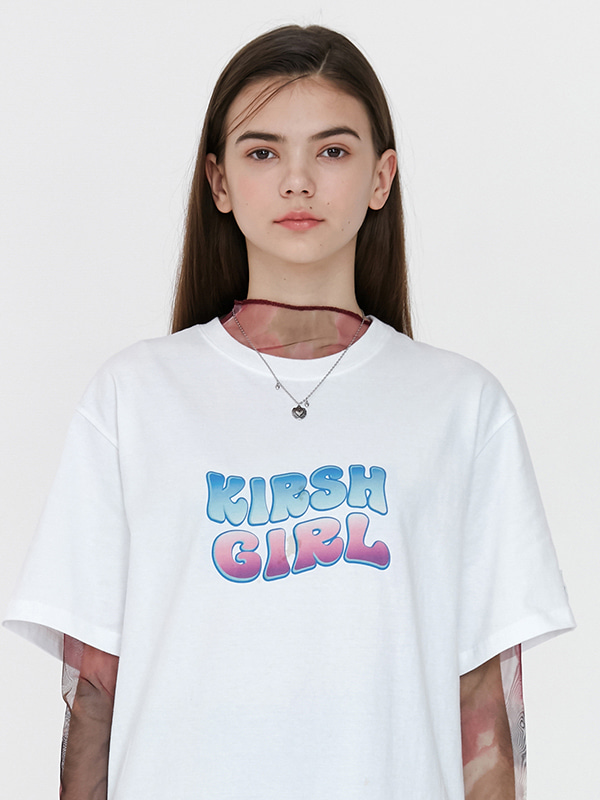 KIRSH GIRL ICE GRADATION LOGO T-SHIRTS JH [WHITE]