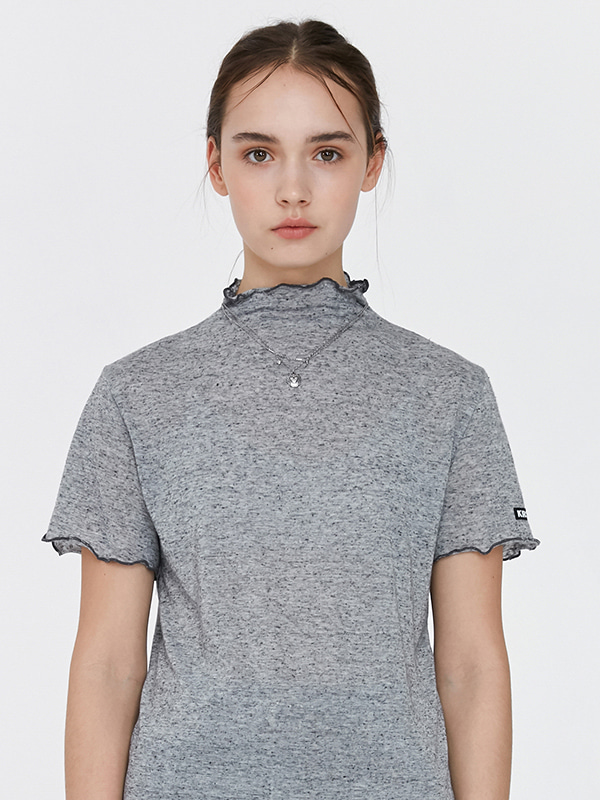 KIRSH WAVE STITCH HALF-NECK T-SHIRT JH [GRAY]