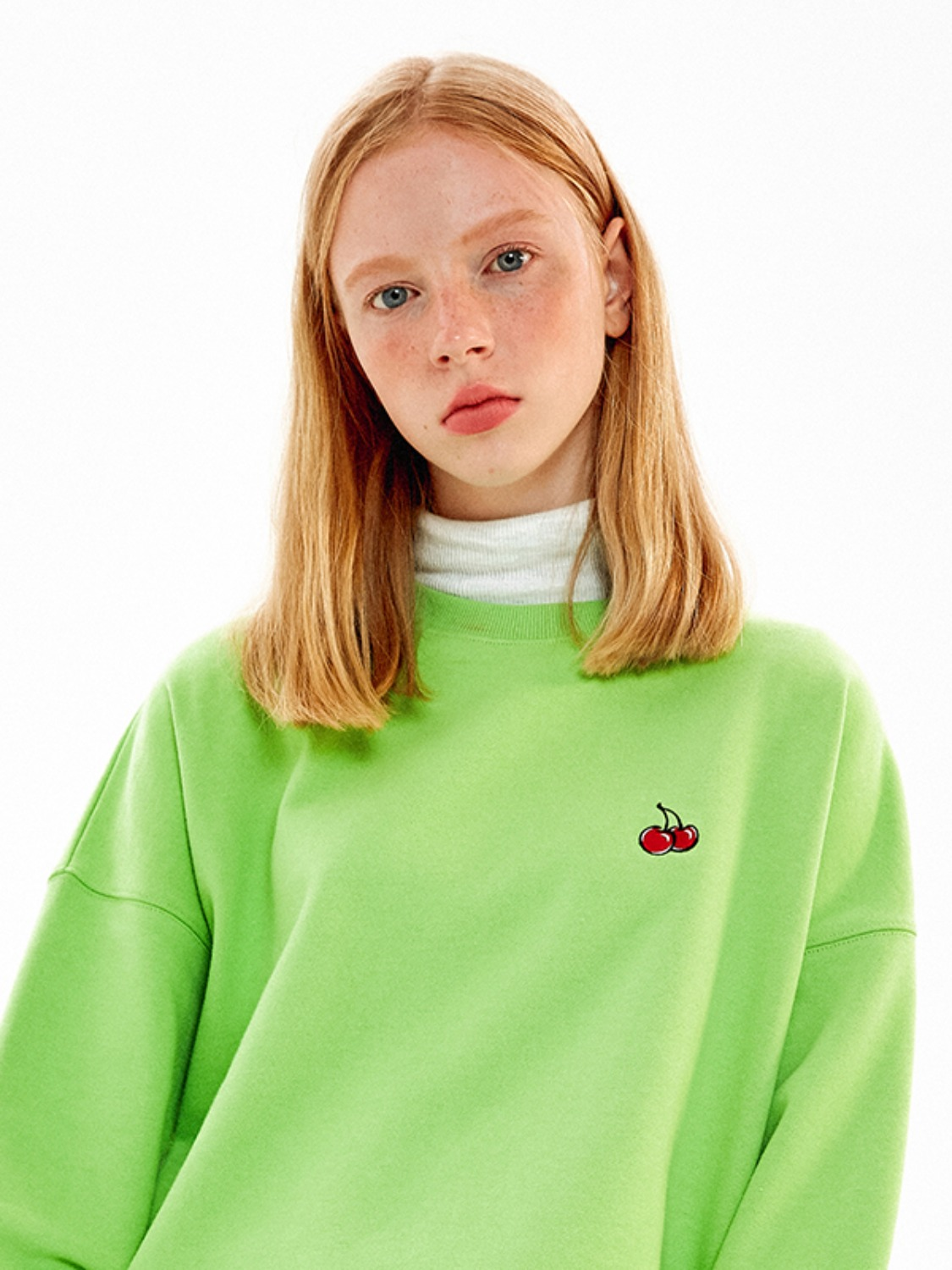 SMALL CHERRY SWEATSHIRT JA [NEON GREEN]