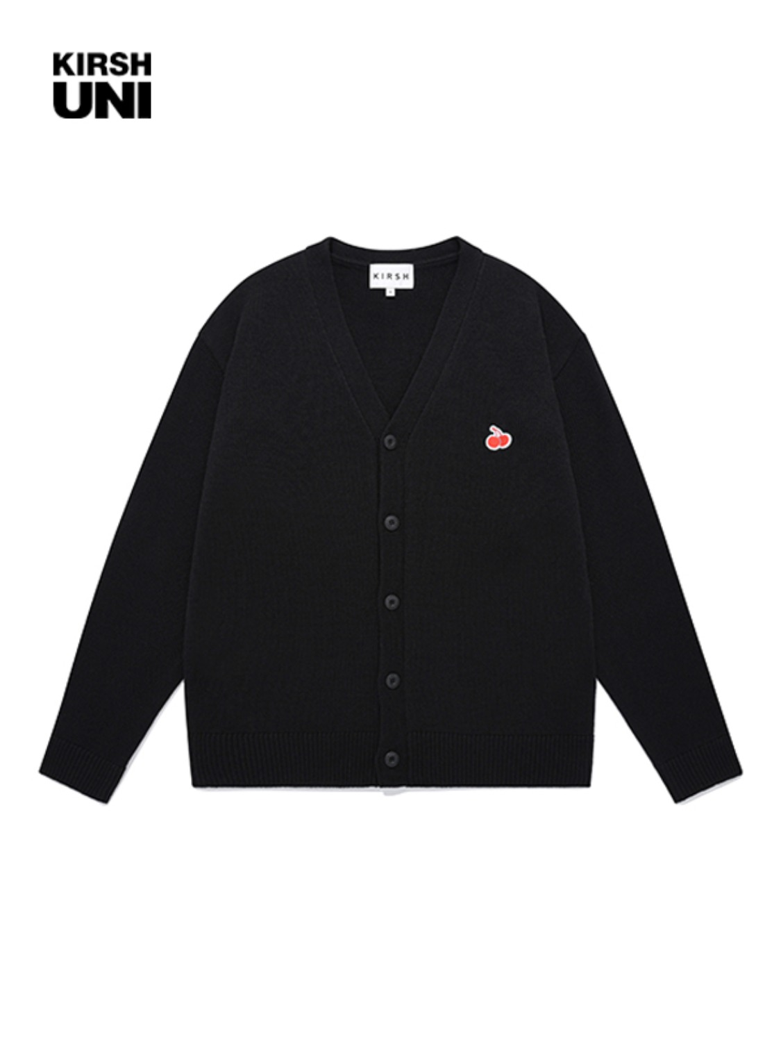 UNI SMALL CHERRY V NECK CARDIGAN JA [BLACK]
