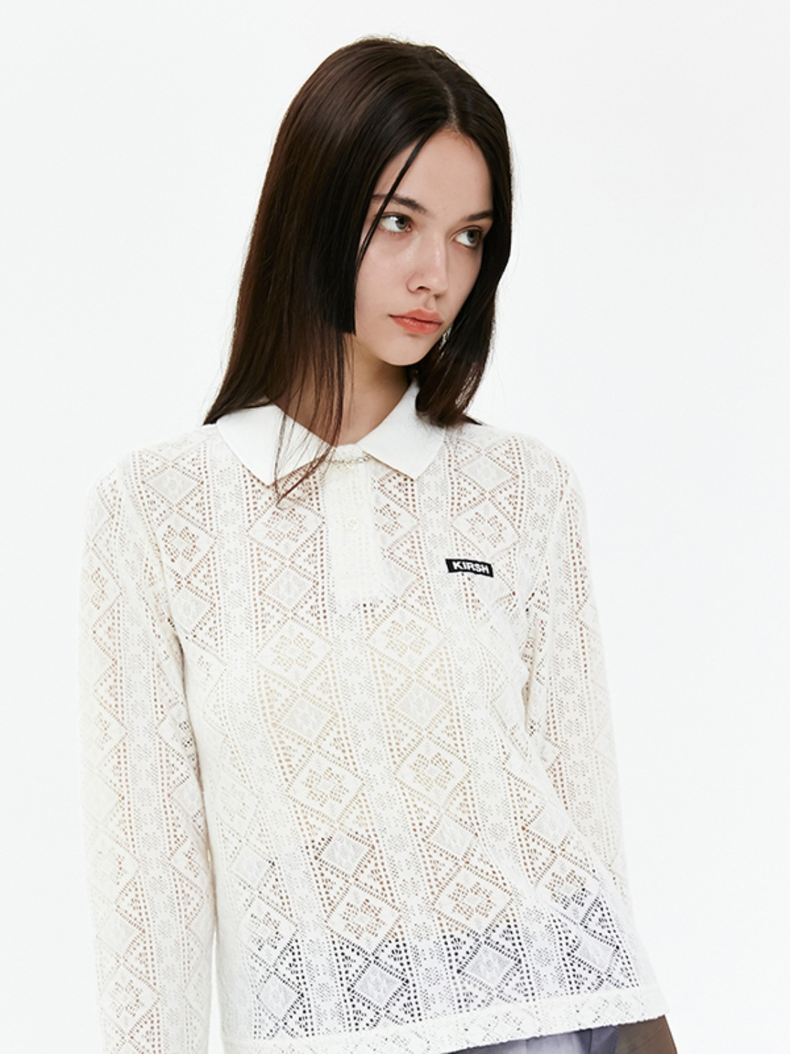 LACE KNIT PIQUE COLLAR T-SHIRTS JA [IVORY]