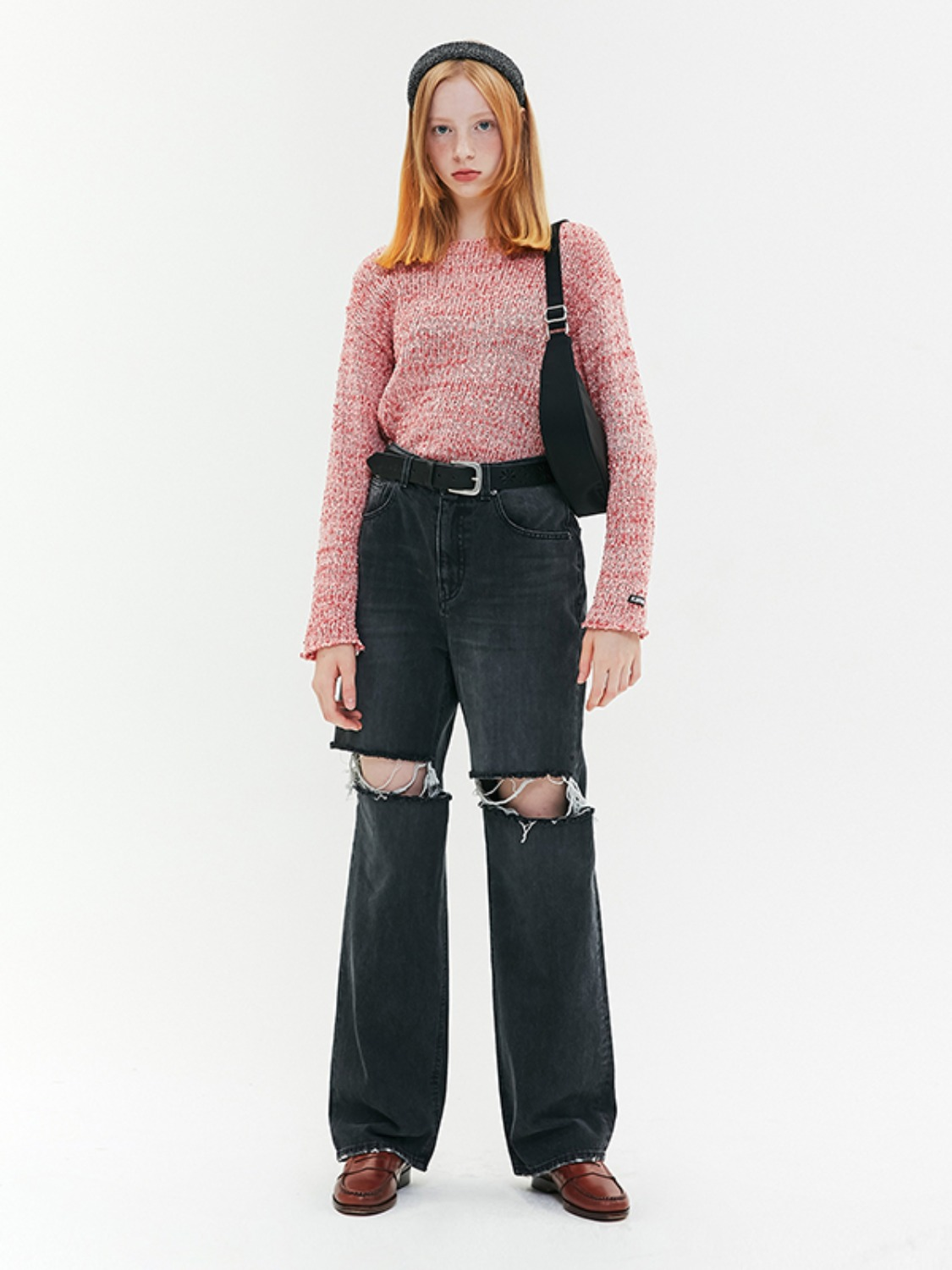 DESTROYED DENIM PANTS JA [BLACK]