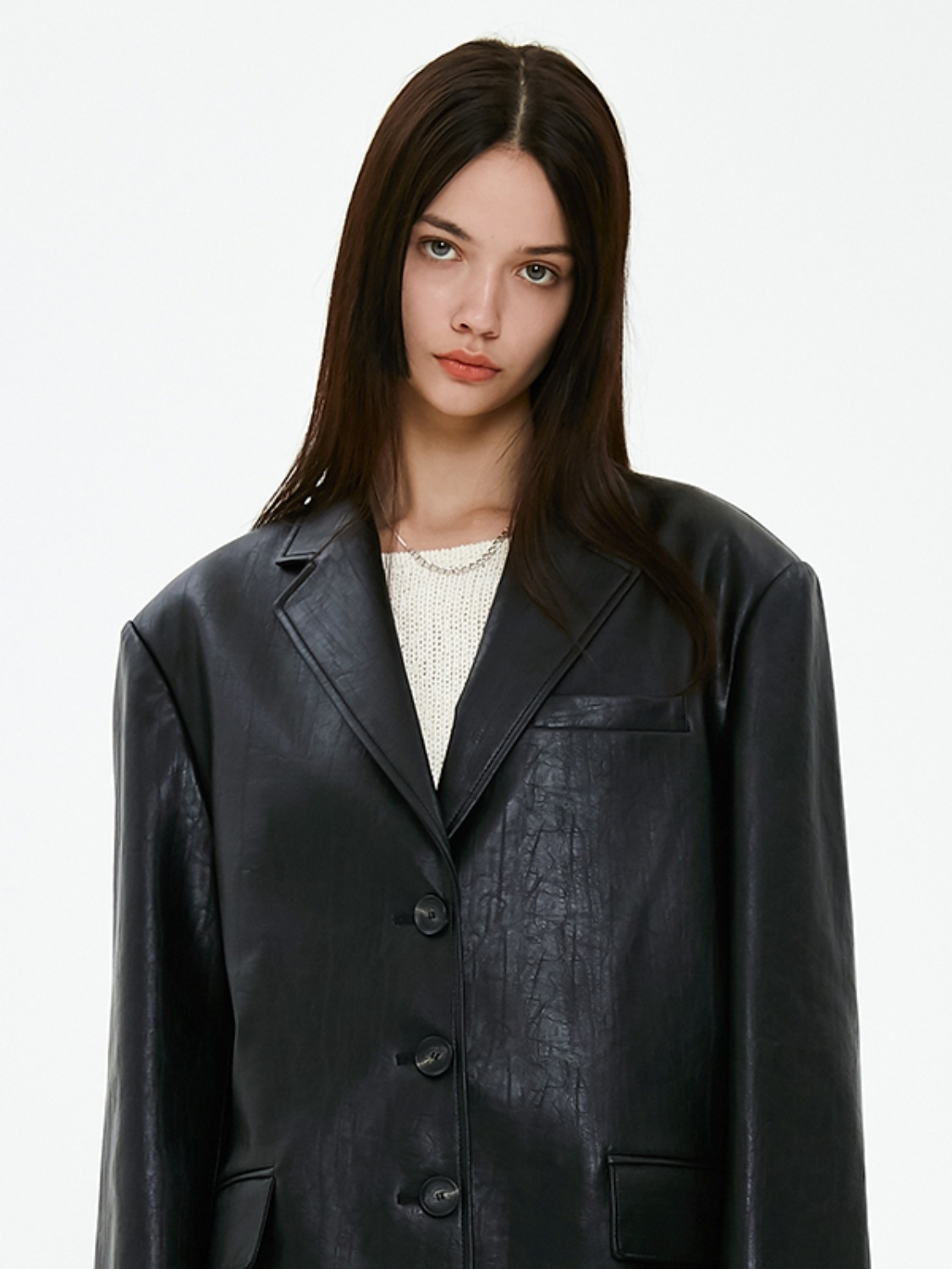 OVERSIZED LEATHER JACKET JA [BLACK]