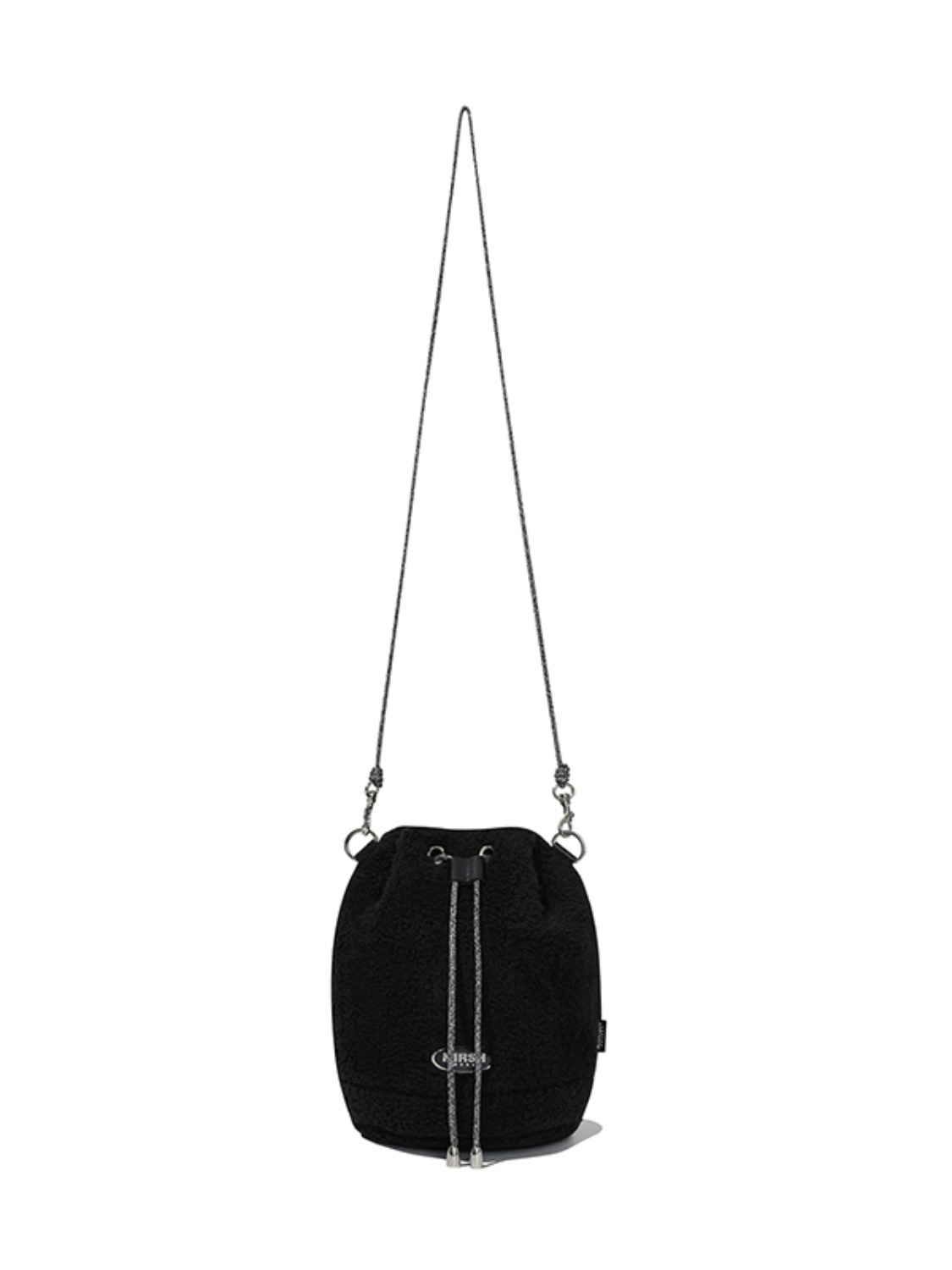 FLEECE  DRAWSTRING CROSS BAG JA [BLACK]