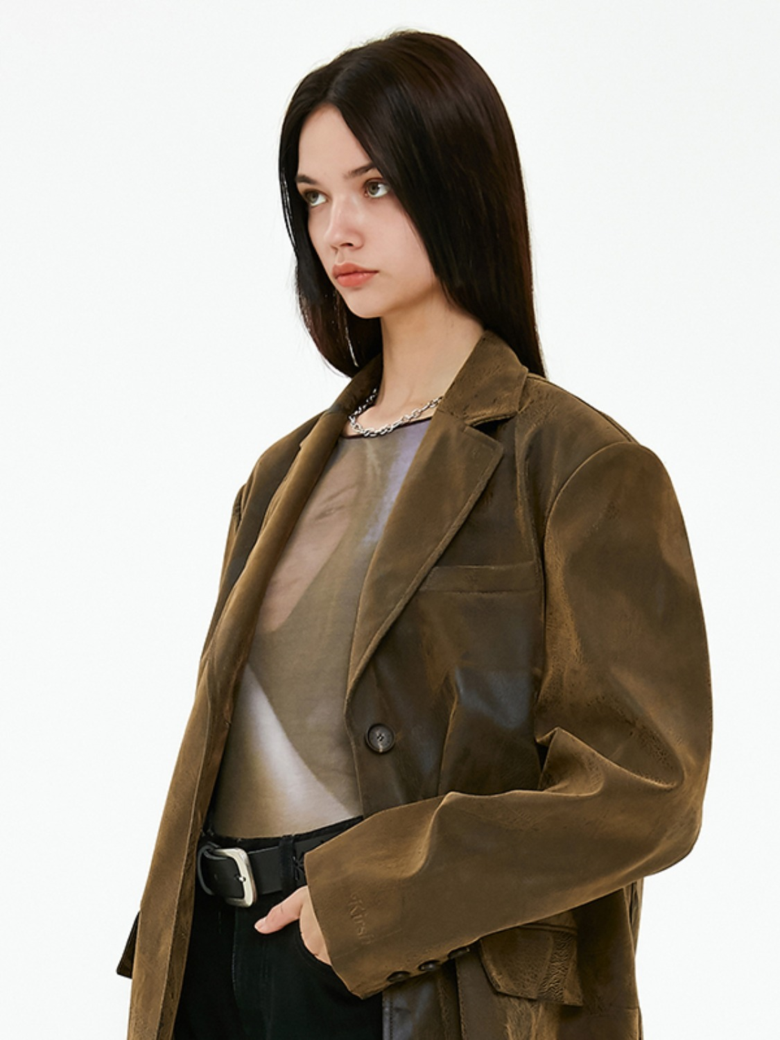 OVERSIZED LEATHER JACKET JA [BROWN]