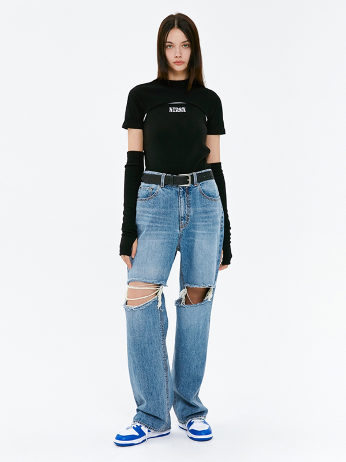 DESTROYED DENIM PANTS JA [BLUE]