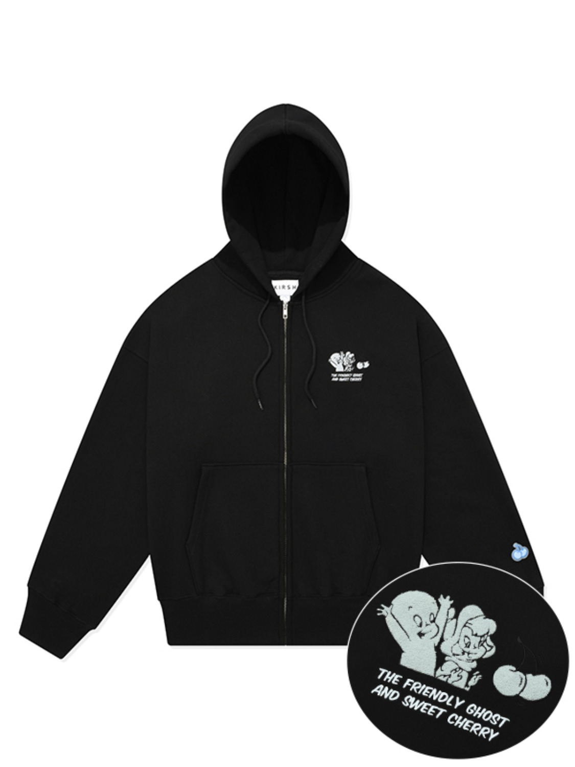 CASPER GRAPHIC HOODIE ZIP UP [BLACK]
