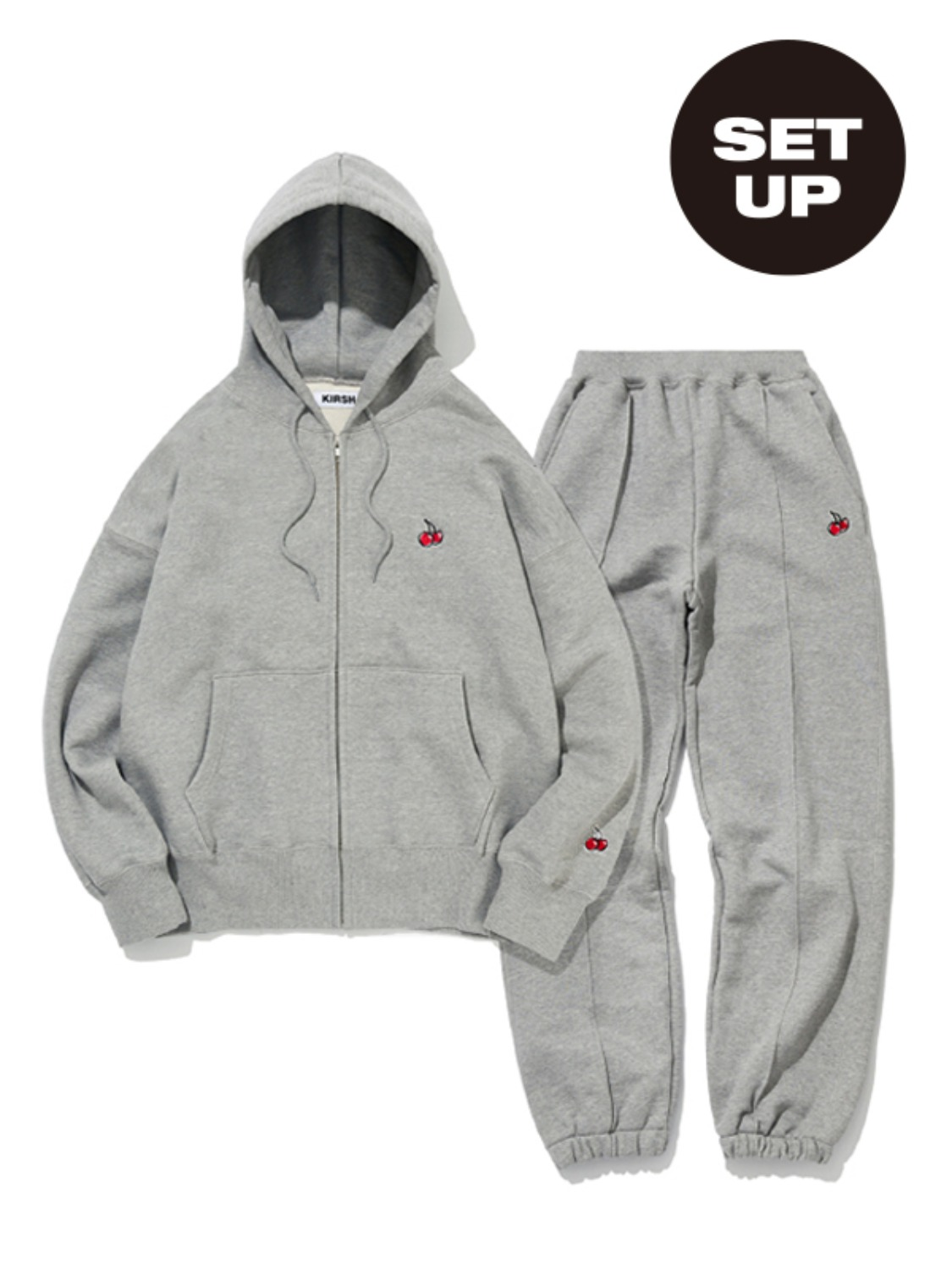SMALL CHERRY HOODIE ZIPUP + CHERRY LINE JOGGER PANTS [GRAY+GRAY]